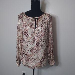 WHBM Silk Blend Blouse Top Neck Tie Long Sleeves